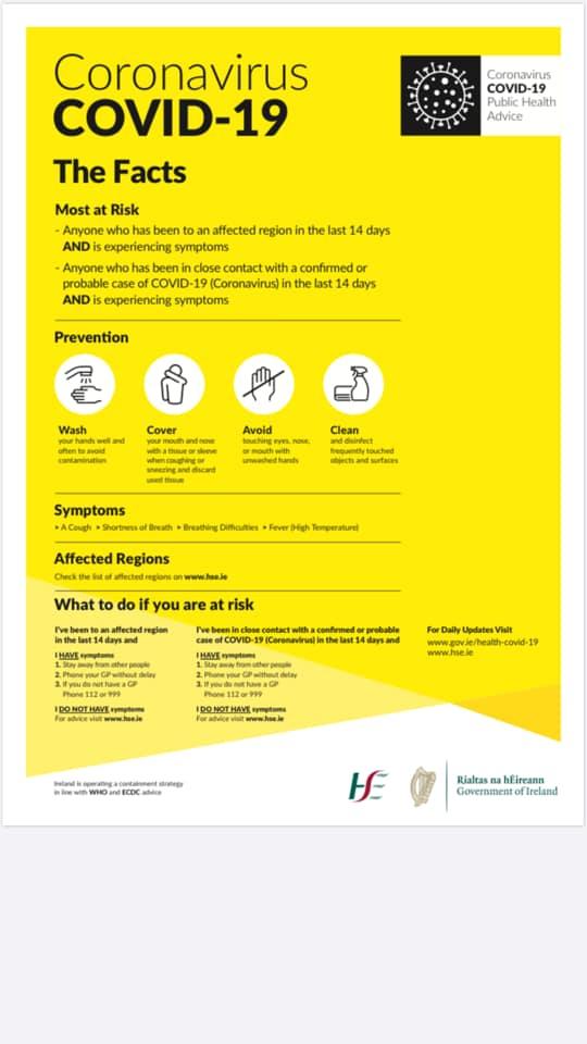 Covid-19 GAA Healthy Clubs Message